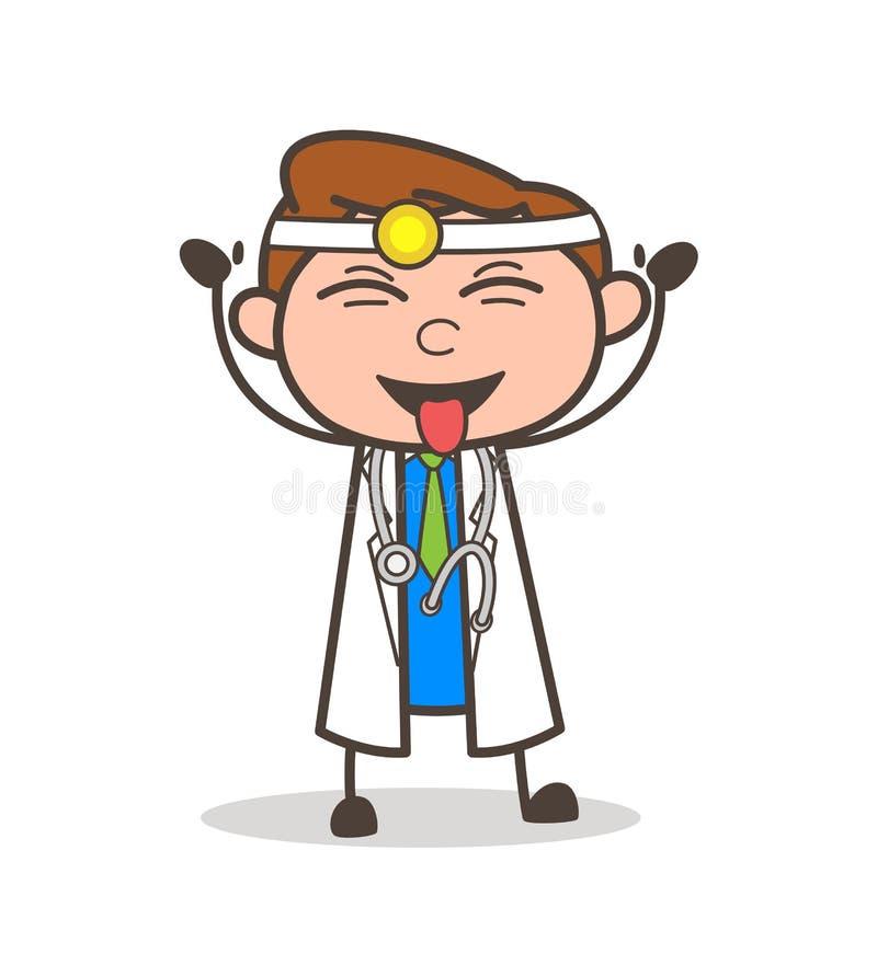 Доктор Laughing и дразня иллюстрация шаржа вектора языка бесплатная иллюстрация