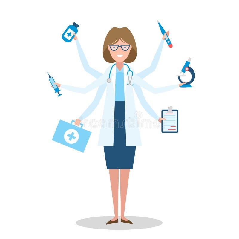 Доктор Multitasking стоя на белизне иллюстрация вектора