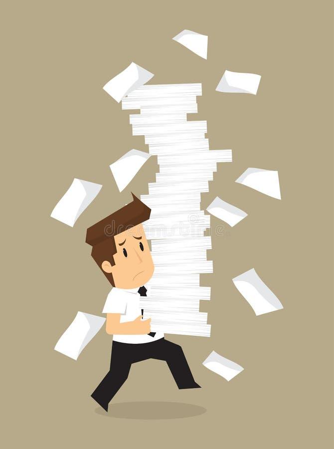 Документы бизнесмена работают крепко иллюстрация штока