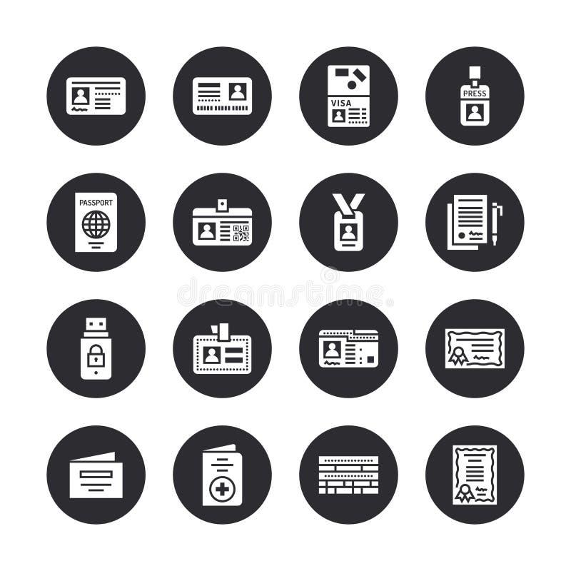 Документы, значки глифа вектора идентичности плоские Карточки ID, пасспорт, пропуск студента доступа прессы, виза, сертификат миг иллюстрация штока