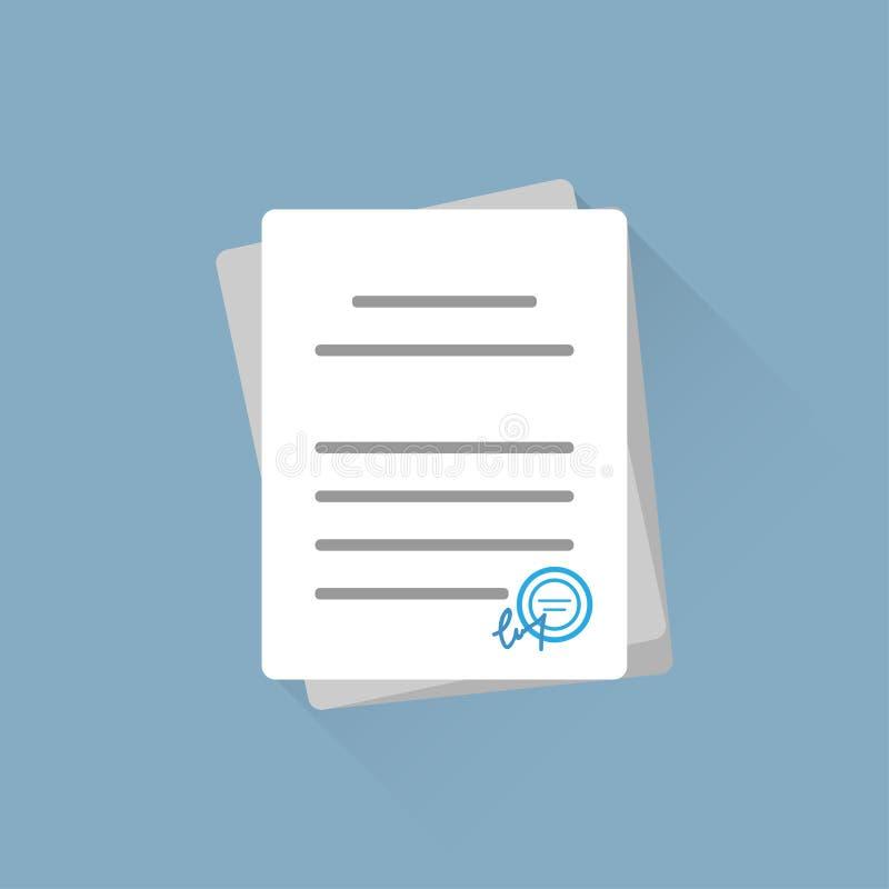 Документы или контракт офиса, на голубой предпосылке бесплатная иллюстрация