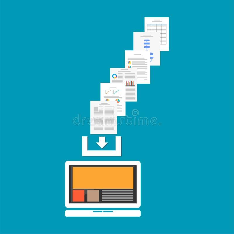 Документы или файлы загрузки от интернета Концепция загрузки отростчатая иллюстрация штока