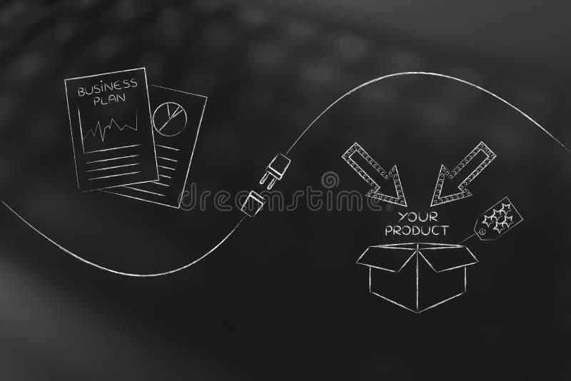 Документы и продукт бизнес-плана упаковывая с метафорой c стоковое фото