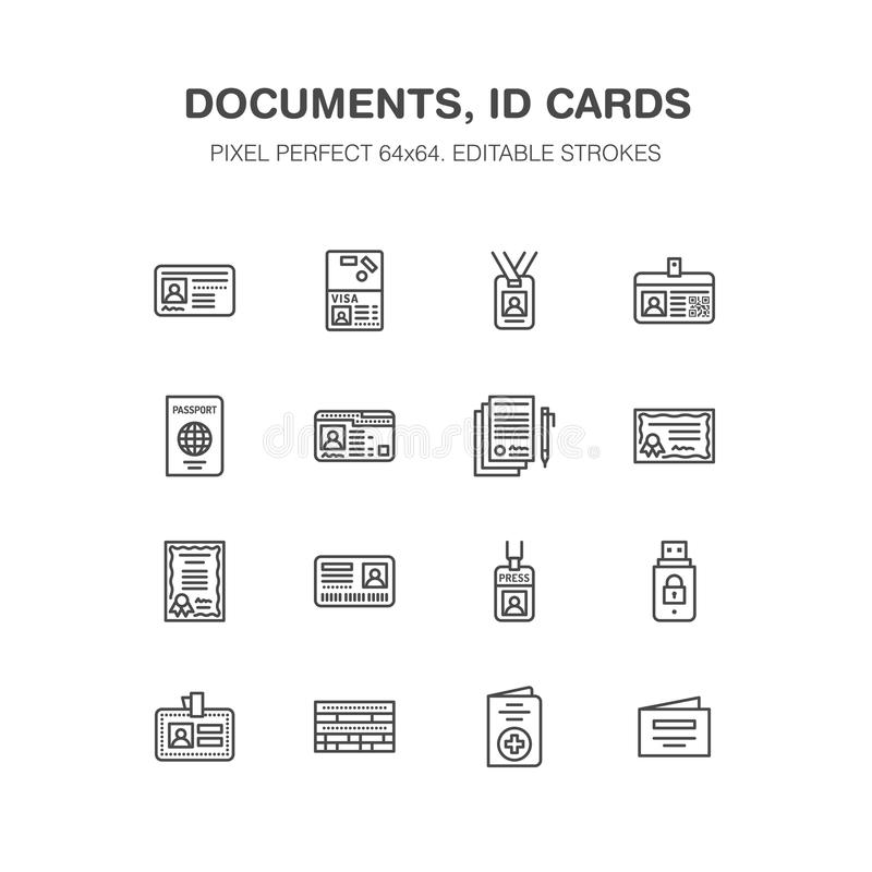 Документы, линия значки вектора идентичности плоская Карточки ID, пасспорт, пропуск студента доступа прессы, виза, сертификат миг иллюстрация вектора