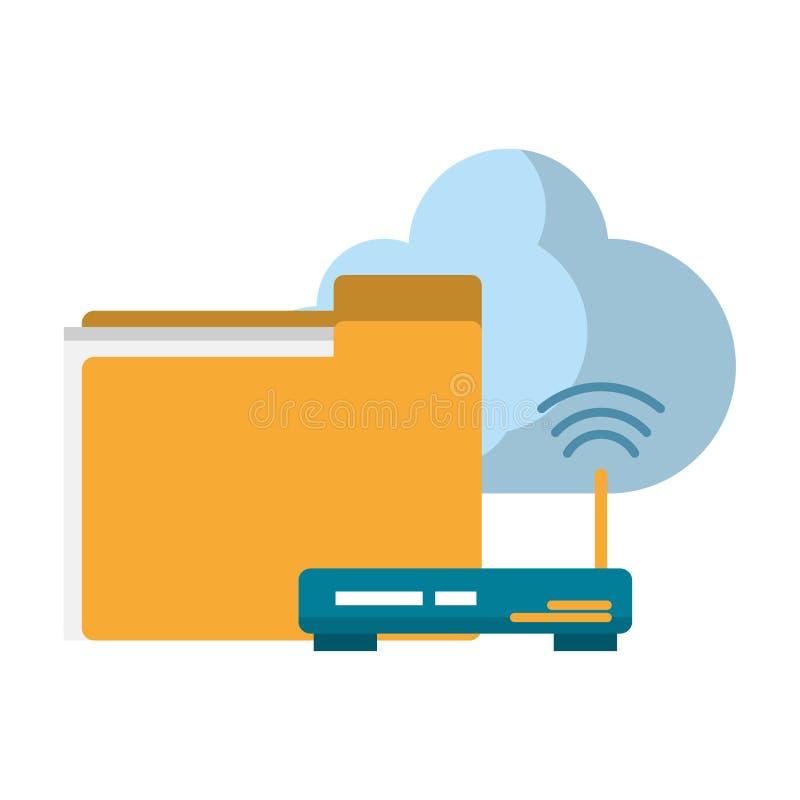 Документы маршрутизатор и облако бесплатная иллюстрация
