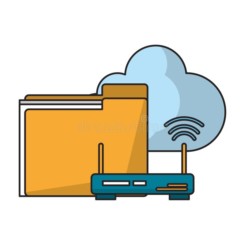 Документы маршрутизатор и облако иллюстрация вектора