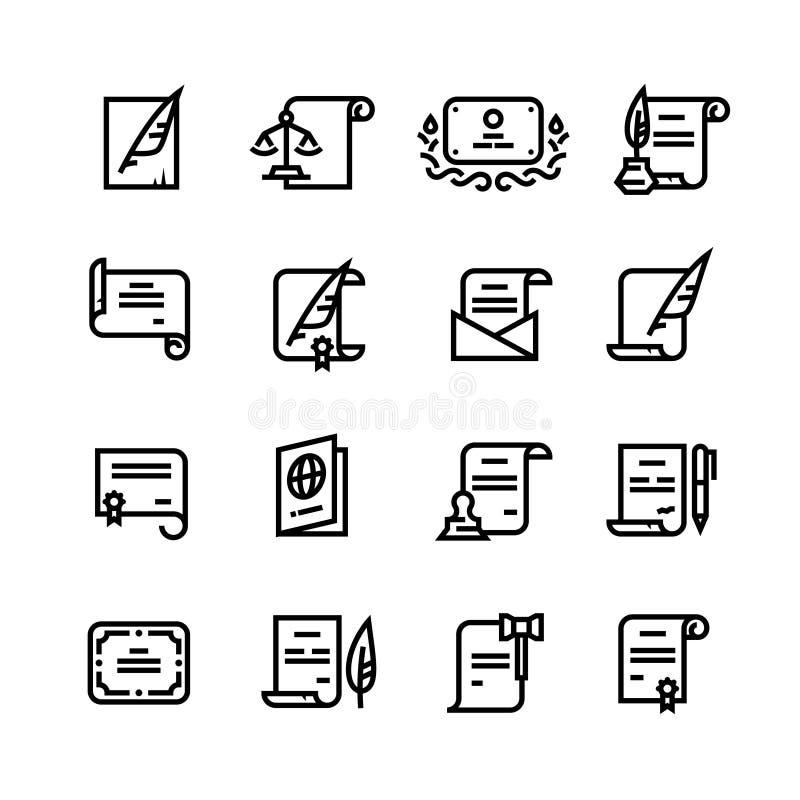 Документы разрешения, сертификат и пасспорт, лицензия с линией значками печати простой бесплатная иллюстрация