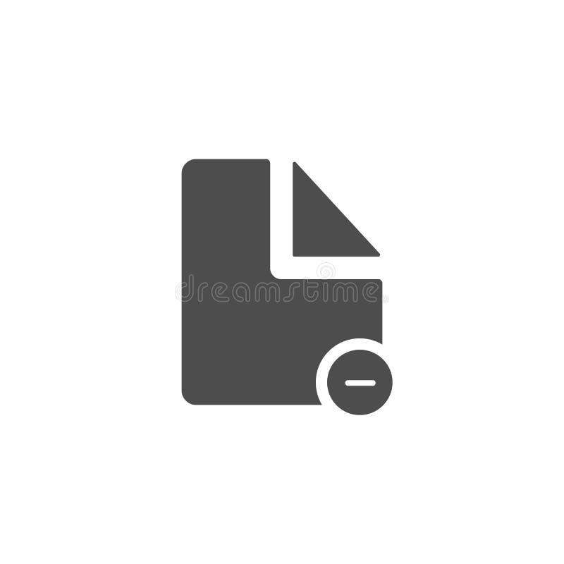 документ вычитает значок простой холодный значок изолированный на белизне иллюстрация штока
