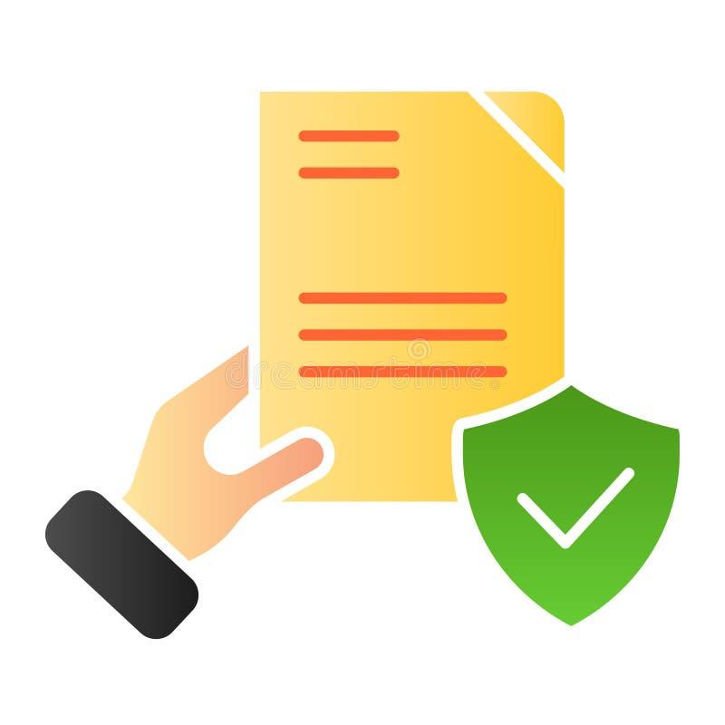 Документ подтверженный в значке руки плоском Проверенные значки цвета согласования в ультрамодном плоском стиле Форма со стилем г иллюстрация вектора