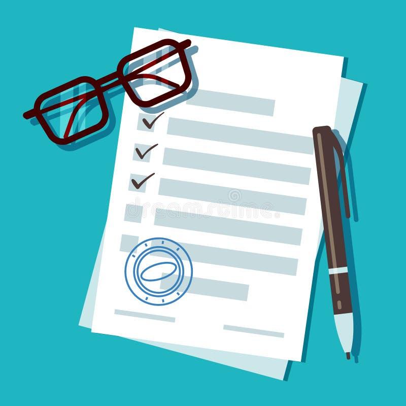 Документ формы заявки на кредит, концепция вектора ипотеки иллюстрация вектора