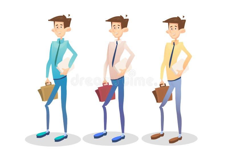 Документ чемодана владением молодого менеджера бизнесмена установленный, собрание бизнесмена бесплатная иллюстрация
