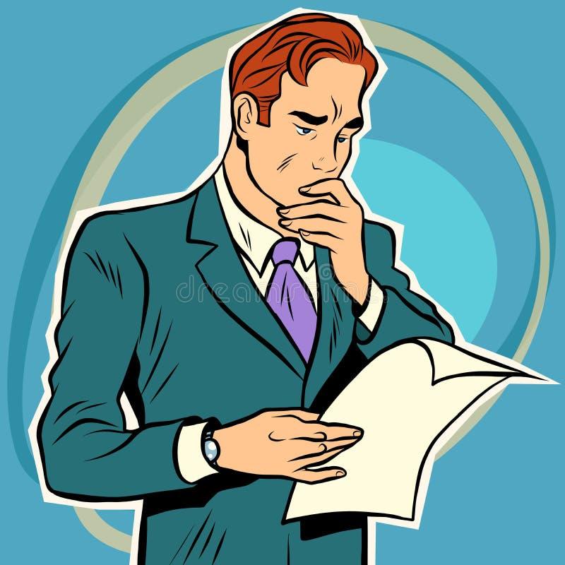 Документ чтения человека иллюстрация штока