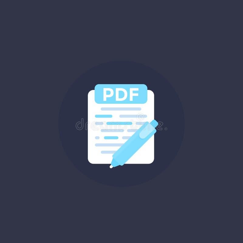 Документ PDF редактирует значок вектора иллюстрация штока