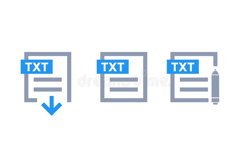 Документ TXT, файл txt загрузки, редактирует значки иллюстрация вектора