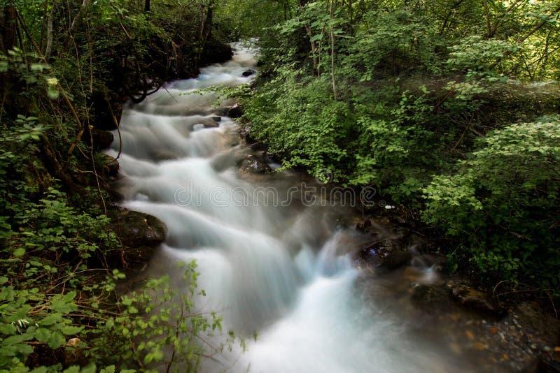 Долгая выдержка быстрого идущего потока стоковые фото