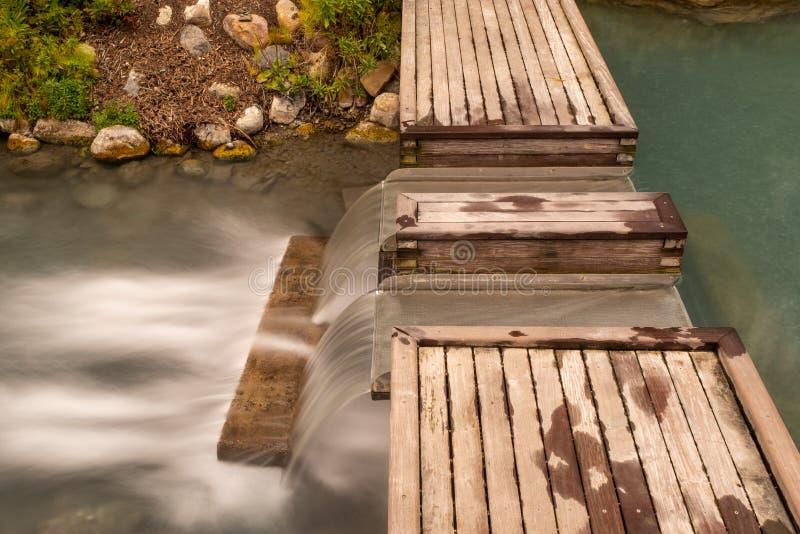 Долгая выдержка воды рушась вниз с шага на горячих источниках Liard, Британской Колумбии, Канаде стоковые изображения