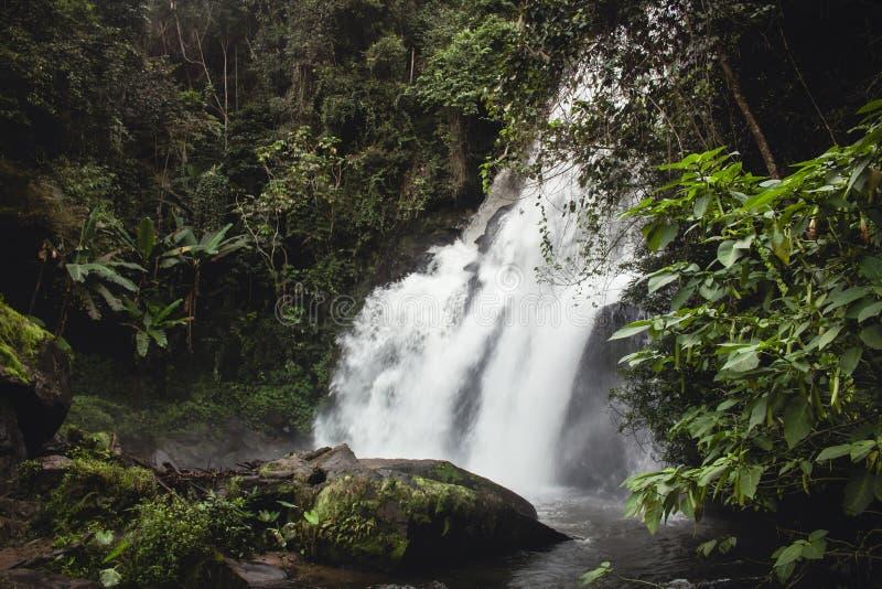 Долгая выдержка впечатляющего водопада peeking через сочную зеленую листву в Mae Klang Luang Chiang Mai, Таиланд стоковые изображения