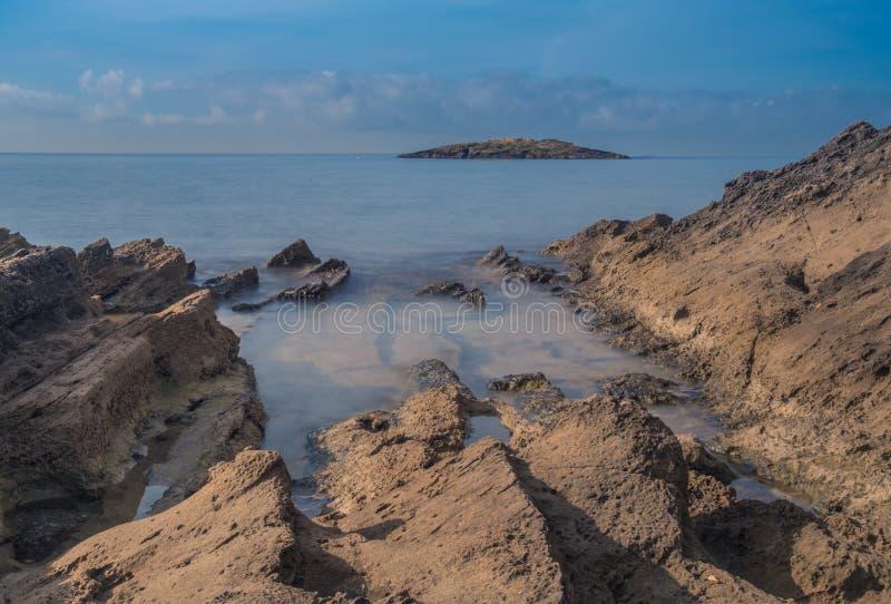 Долгая выдержка в пляже стоковое фото rf