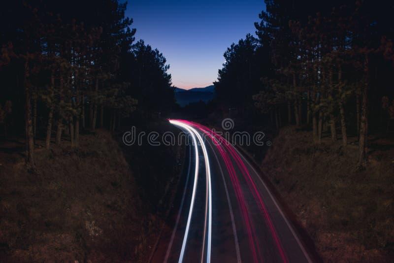 Долгая выдержка дороги горы стоковые фотографии rf