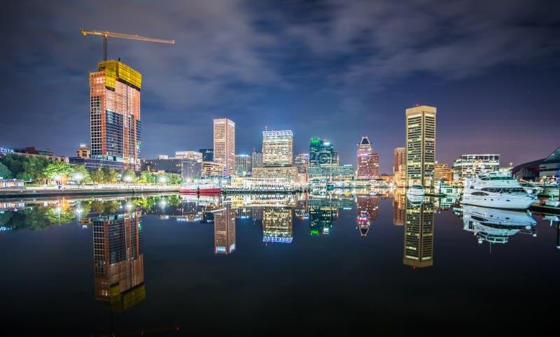 Долгая выдержка красочного горизонта Балтимора стоковое изображение