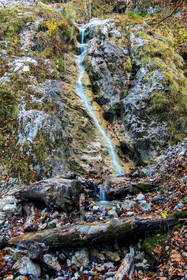 Долгая выдержка малого водопада приходя вниз через утесы и мох стоковые изображения