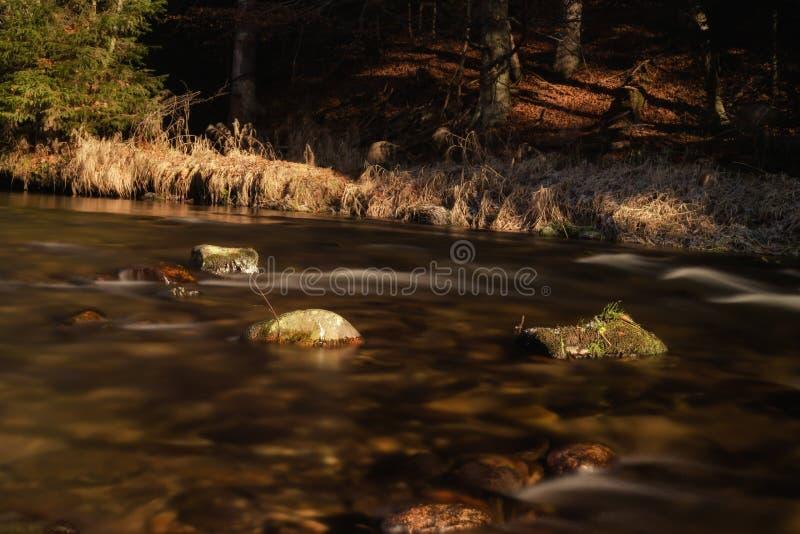 Долгая выдержка на воде в осени стоковые изображения rf