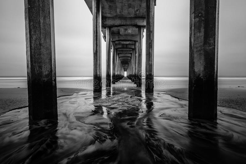 Долгая выдержка на пристани Scripps стоковые фотографии rf