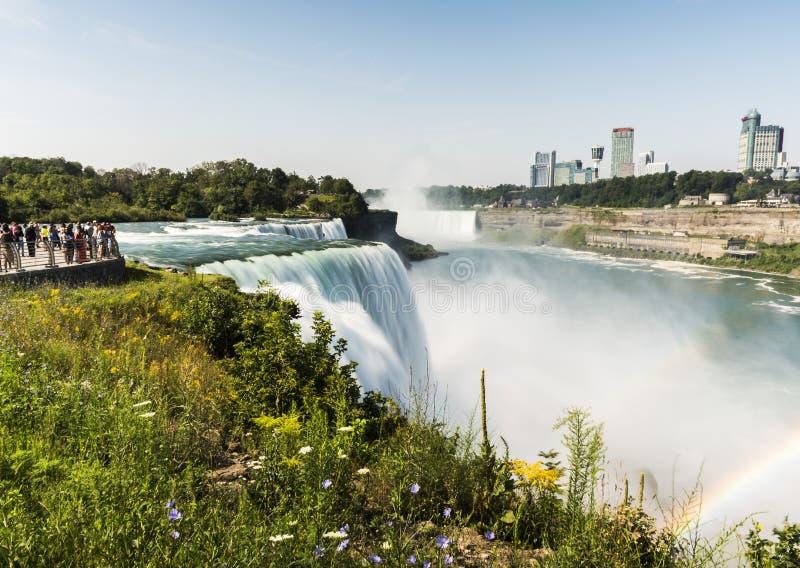 Долгая выдержка Ниагарского Водопада, silk вода New York стоковые изображения