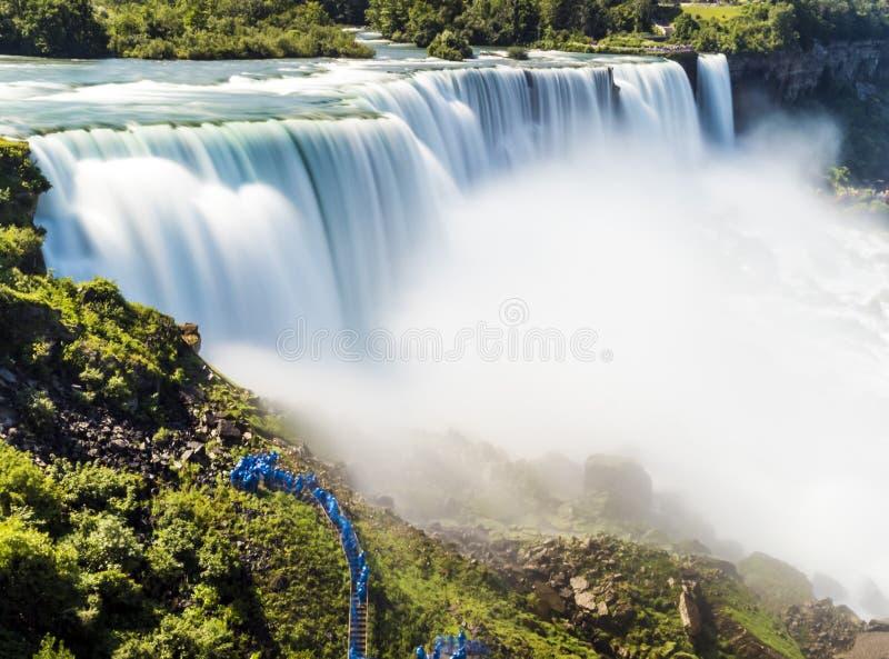 Долгая выдержка Ниагарского Водопада, silk вода New York стоковая фотография