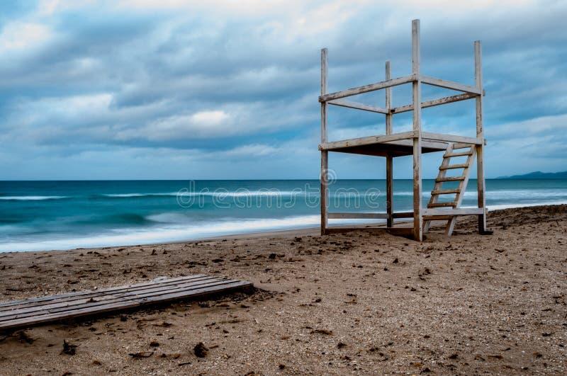 Долгая выдержка пляжа в зиме стоковое изображение rf