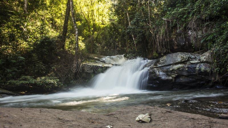 Долгая выдержка прелестного, малого водопада окруженного сочной зеленой листвой в Mae Klang Luang Chiang Mai, Таиланд стоковая фотография rf