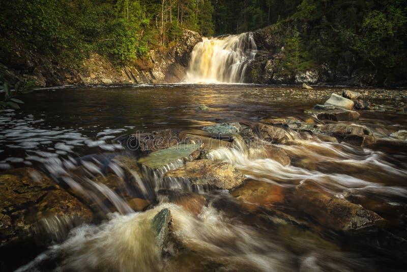 Долгая выдержка снятая пропуская реки Homla и водопадов стоковое фото