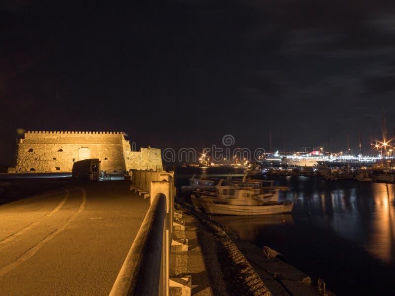 Долгая выдержка форта koules ираклиона венецианская вечером стоковое изображение rf