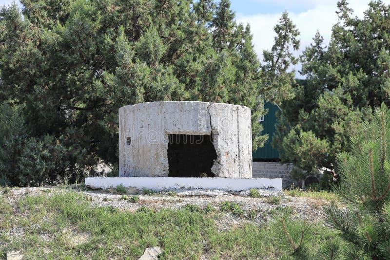 Долгосрочная точка момента зажигания в историческом музее батареи артиллерии капитана Zubkov стоковые фотографии rf