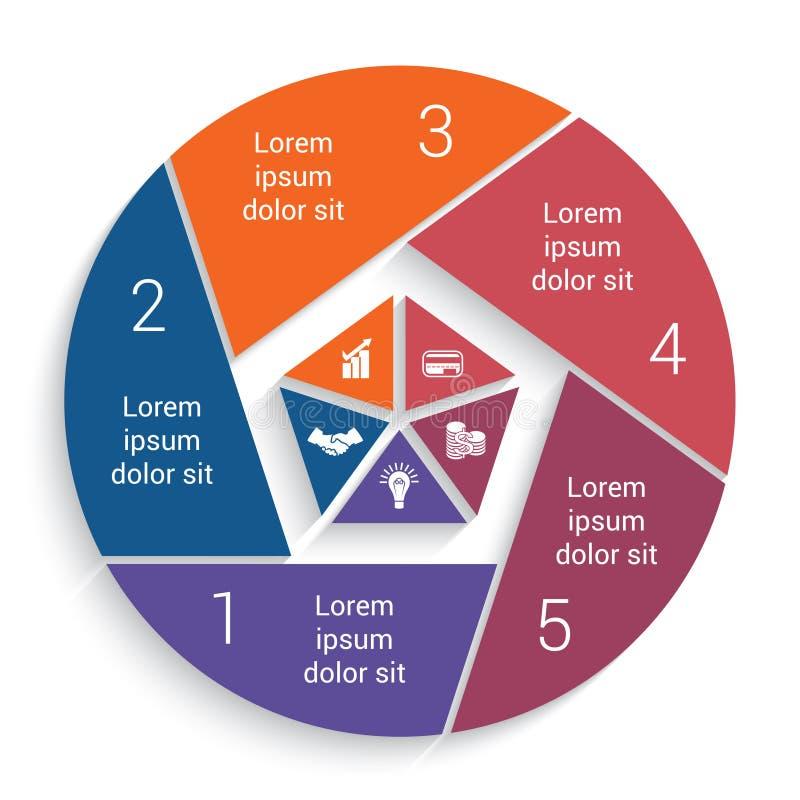 Долевая диограмма дела Infographic для шаблона 5 вариантов бесплатная иллюстрация
