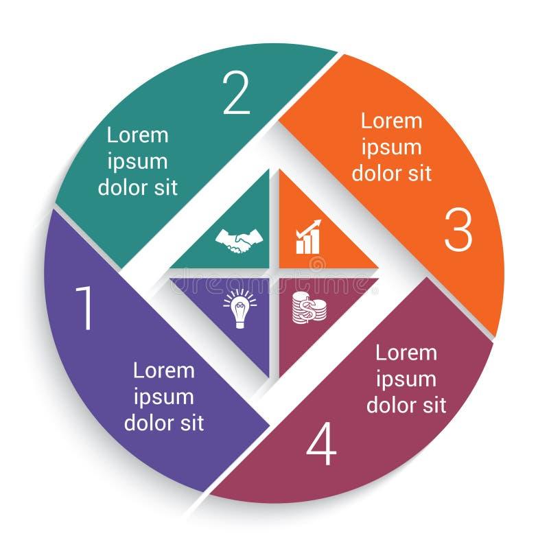 Долевая диограмма дела Infographic для шаблона 4 вариантов иллюстрация штока