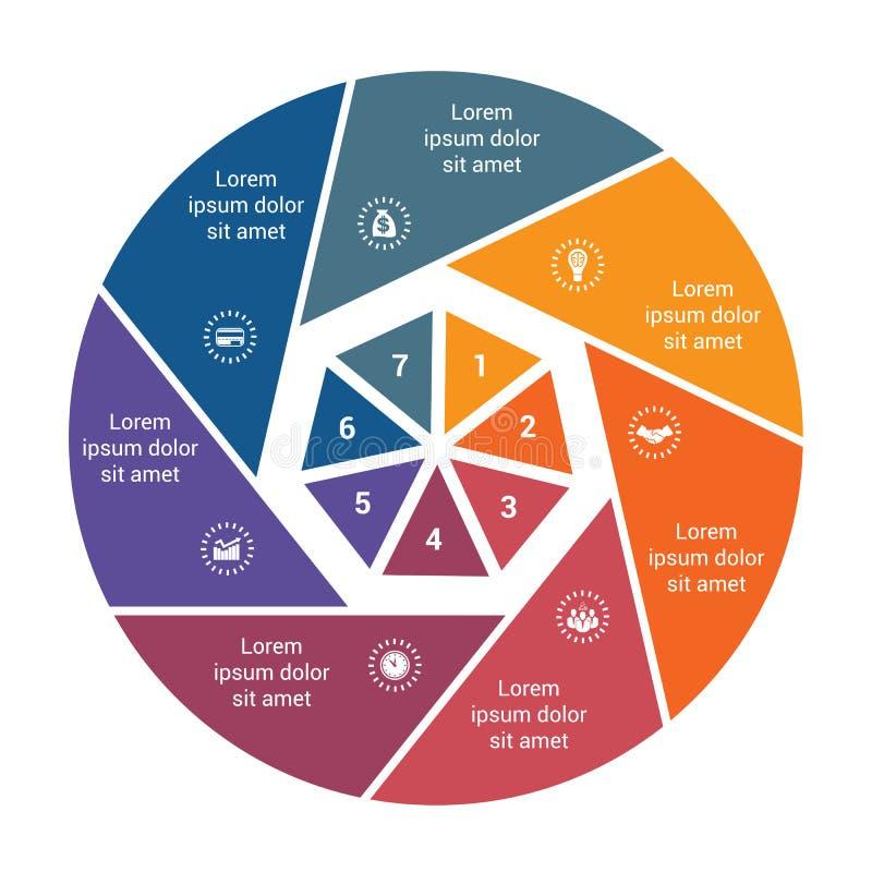 Долевая диограмма для 8 вариантов, постепенное proce дела Infographic иллюстрация штока