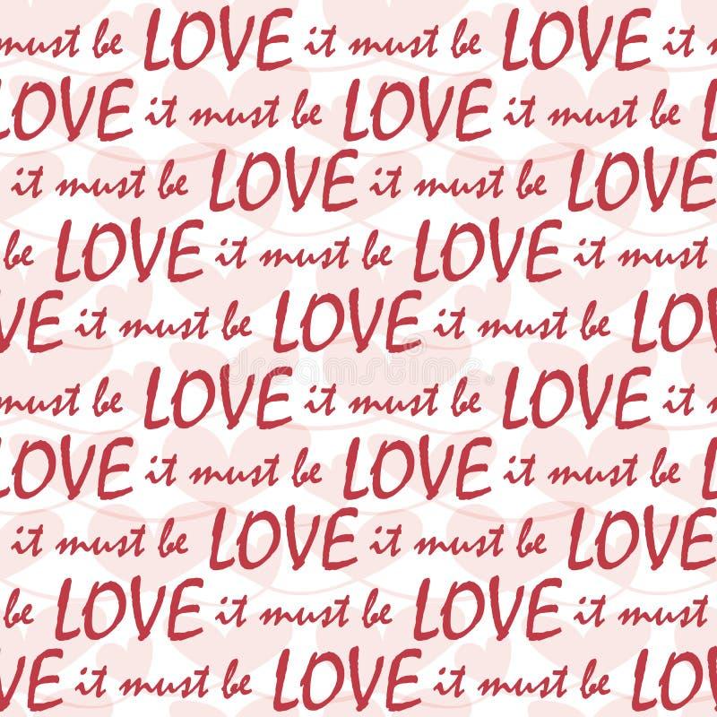 Должно быть линиями любов красного текста с прозрачной пастельной текстурой сердец Картина вектора потехи безшовная на белизне бесплатная иллюстрация
