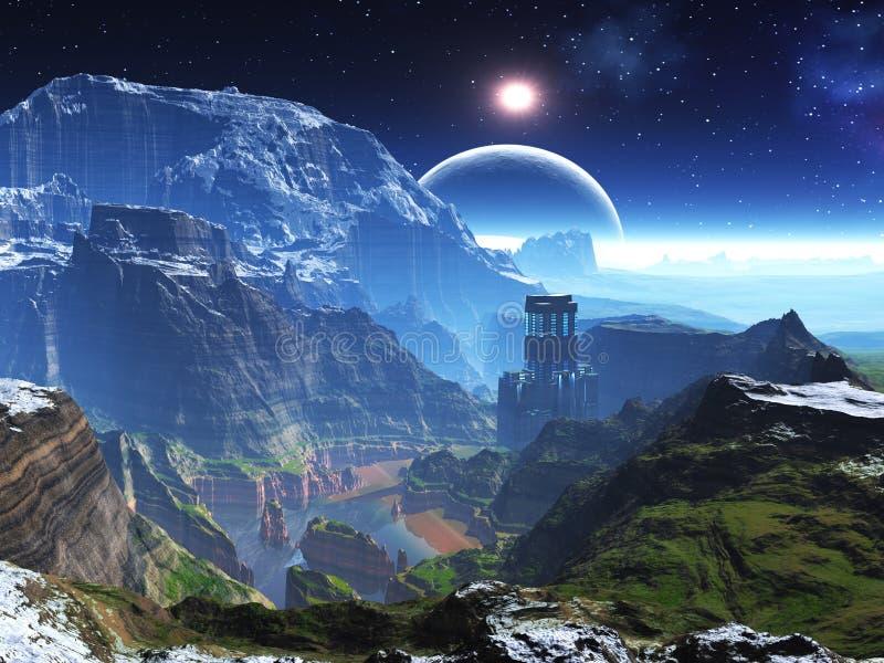 долина башни весны потока каньона неоновая бесплатная иллюстрация