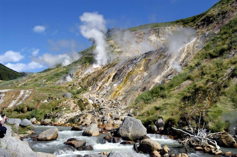 долина гейзеров стоковое изображение
