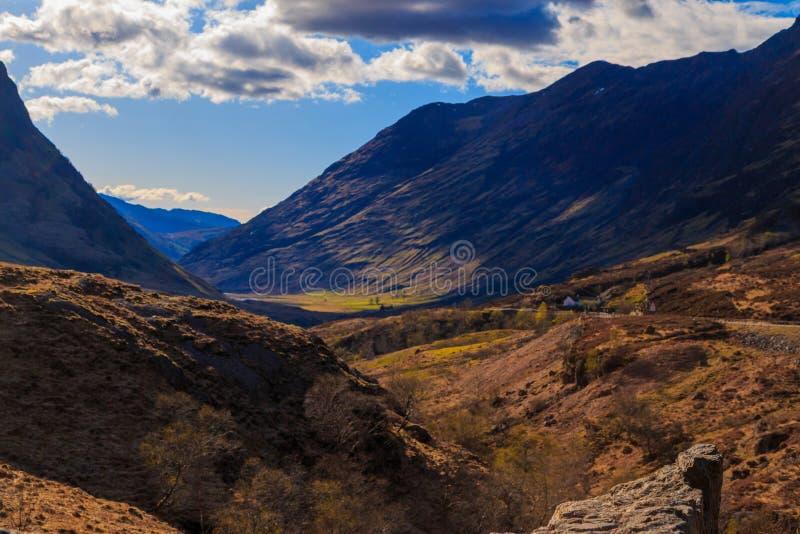 Долина горы, Glencoe, Шотландия стоковые фотографии rf