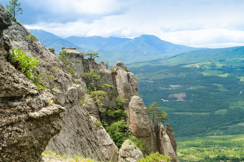 Долина Крым призрака Demerdzhy горного вида стоковые фото