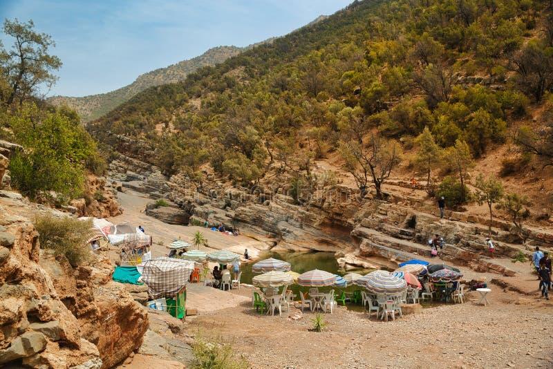 Долина рая, Марокко - август 2017 Долина рая оазиса в горах Агадире, Марокко стоковое фото