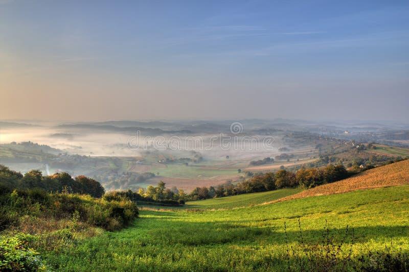 долина утра тумана зеленая стоковая фотография rf