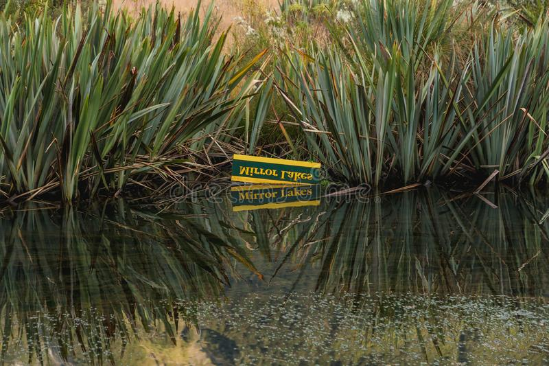 Долина Eglinton, озера зеркала на всем пути дороги milford, Новой Зеландии стоковое фото