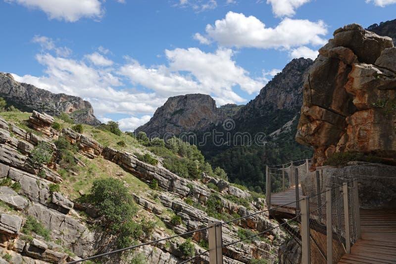Долина Hoyo на Caminito del Rey в Андалусии, Испании стоковые фотографии rf