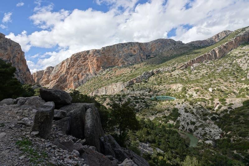 Долина Hoyo на Caminito del Rey в Андалусии, Испании стоковое изображение rf