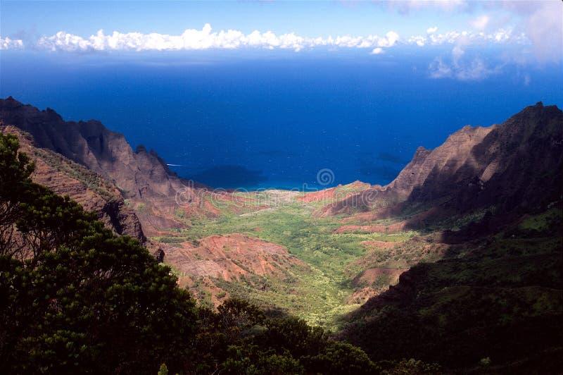 долина kalalau Гавайских островов стоковое фото