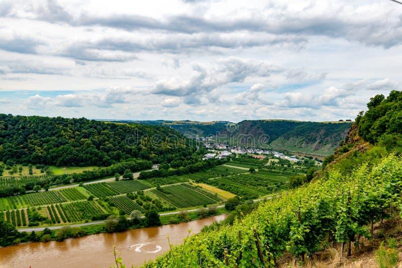 Долина Mosel от верхней части моста долины Mosel на Winninge стоковое изображение