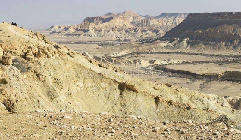 Долина Zin в гористых местностях Negev в Израиле стоковая фотография rf